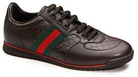 Gucci Men's Leather Sneaker With Web