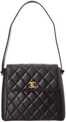 Chanel Black Caviar Leather Single Flap Shoulder Bag