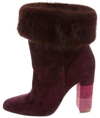 Salvatore Ferragamo Mink-Trimmed Ankle Boots