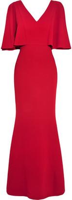 Badgley Mischka Ruffled Textured-Crepe Gown