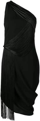 Versace fringed one shoulder midi dress
