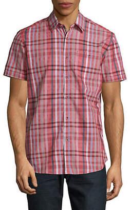 Point Zero Semi-Fit Check Short Sleeve Sport Shirt