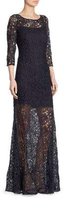 Kay Unger Illusion Lace Gown
