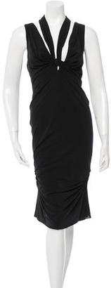 Vera Wang V-Neck Midi Dress $115 thestylecure.com