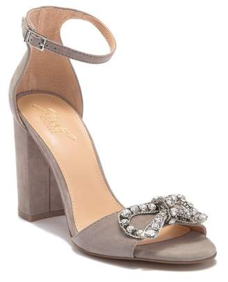 Badgley Mischka Milagros Embellished Bow Block Heel