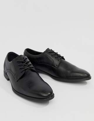 New Look Faux Leather Derby Shoes In Black