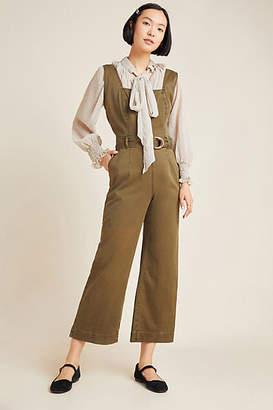 DL1961 Hepburn Cropped Wide-Leg Denim Jumpsuit