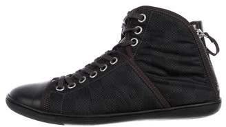 Louis Vuitton Damier Woven High-Top Sneakers