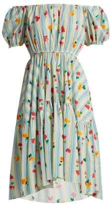 Caroline Constas Striped Floral Print Cotton Blend Dress - Womens - Blue White