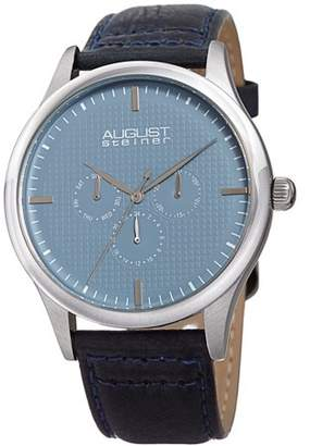August Steiner Silver Tone Casual Quartz Watch With Leather Strap [AS8243SSBU]