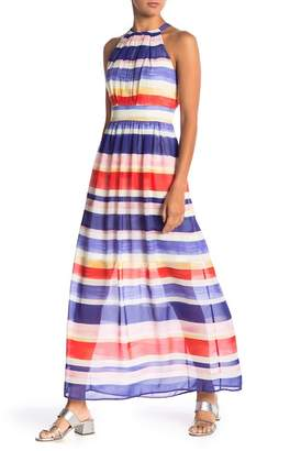 Vince Camuto Halter Striped Print Chiffon Maxi Dress