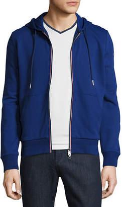 Moncler Tricolor-Trim Zip-Front Hoodie