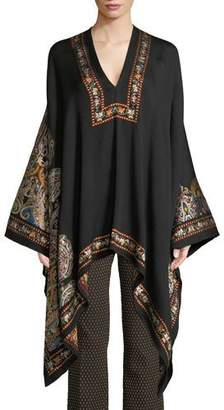 Etro V-Neck Full-Sleeve Embroidered Wool Poncho