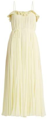 ADAM by Adam Lippes Ruffle Trimmed Square Neck Pleated Dress - Womens - Light Yellow