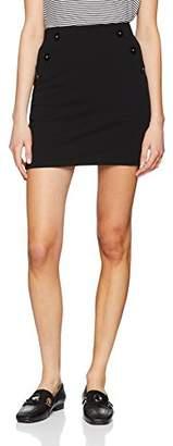 Miss Selfridge Women's Jersey Button Skirt, Black, 6 (Size:6)