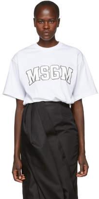 MSGM White College Print Logo T-Shirt