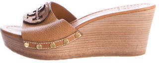 Tory Burch Tory Burch Leather Logo Wedge Sandals