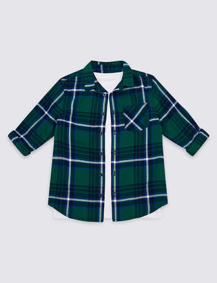 Marks and Spencer Pure Cotton Checked Shirt & T-Shirt (3-16 Years)