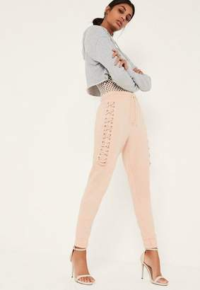Missguided Nude Lace Up Eyelet Side Joggers