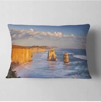 "Designart Twelve Apostles on Ocean Road Seashore Throw Pillow - 12"" x 20"""