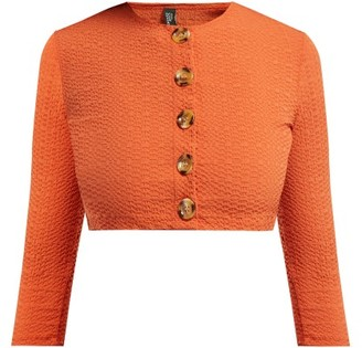 Lisa Marie Fernandez Cropped Sleeve Seersucker Cardigan - Womens - Orange