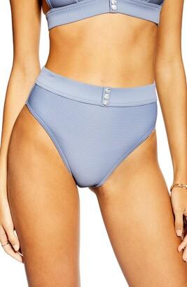 Topshop Button Ribbed Bikini Bottoms