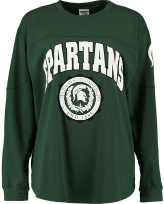 Unbranded Women's Pressbox Green Michigan State Spartans Edith Long Sleeve Oversized Top