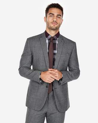 Express Slim Charcoal Jaspe Wool-Blend Suit Jacket