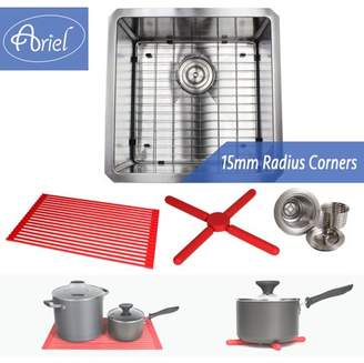 Ariel 18 Inch 16 Gauge Undermount Single Bowl Stainless Steel Sink Premium Dish Rack Package 15mm Radius Design