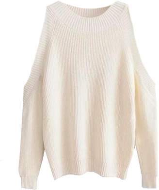 Goodnight Macaroon 'Kathi' Cut-Out Shoulder Crewneck Sweater (2 Colors)