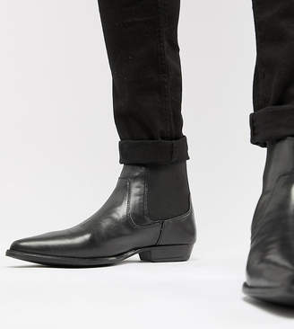 Asos Design DESIGN Wide Fit Chelsea Boots In Black Faux Leather
