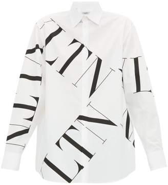 Valentino Logo Print Cotton Poplin Shirt - Mens - White