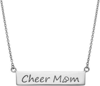 "Sterling Silver ""Cheer Mom"" Bar Necklace"
