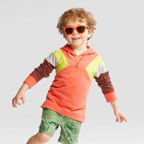 Toddler Boys' Happy Kid Hoodie Orange