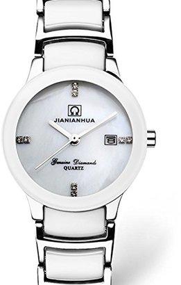 Carnival カーニバルWomensホワイトセラミックサファイアガラス防水レディース日付クォーツ時計