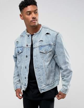 SikSilk Denim Jacket In Blue