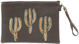 cd1f8207d9e0 Sonora Tea   Tequila Gold Cactus Vegan Leather Clutch Bag - Large - Coffee