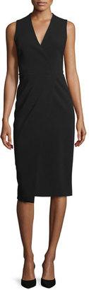 Alice + Olivia Carissa Sleeveless Faux-Wrap Dress, Black $368 thestylecure.com