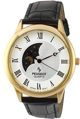 Peugeot Men's '14k Gold Plated' Quartz Metal and Leather Dress Watch
