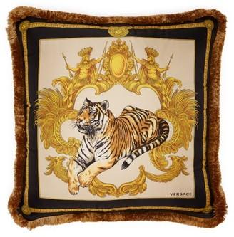 Versace Tiger Print Silk Cushion - Black Multi