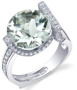 Oravo 5.00 Carat T.G.W. Green Amethyst Rhodium-Plated Sterling Silver Engagement Ring