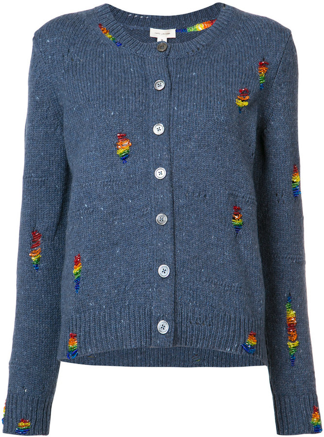 Marc JacobsMarc Jacobs embroidered round neck cardigan