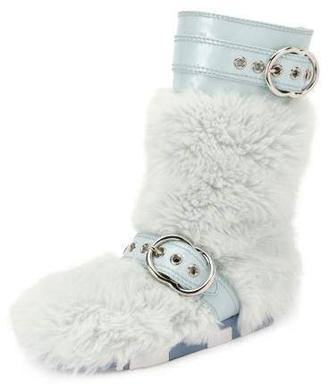 Miu Miu Faux-Fur Boot with Buckle Detail, Blue