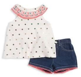 Nannette Little Girl's Pom-Pom Top and Short Set