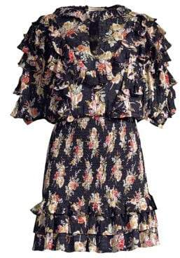 Rebecca Taylor Floral Silk & Cotton Ruffle Mini Dress