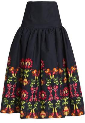 Stella Jean Pleated Printed Stretch Cotton-Twill Midi Skirt