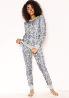 02ed87590c Missy Empire Missyempire Mendy Grey Snake Print Jumper Loungewear Set