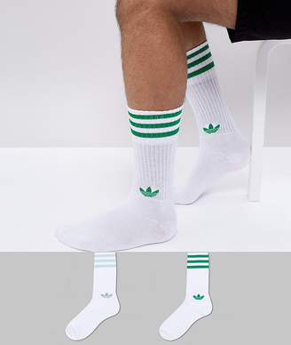 adidas Adicolor 2 Pack Crew Socks In Green Ce5713