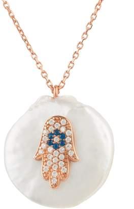 Rosegold Latelita London - Pearl & Hamsa Necklace