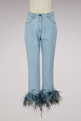 Prada Feathers denim pants